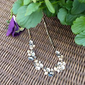 peach grey white 'crystal' pebbles gold necklace